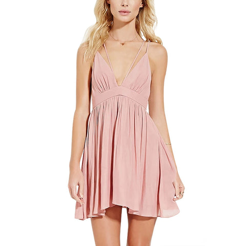 Women Sexy Plunge V-neck Sleeveless Mini Dress