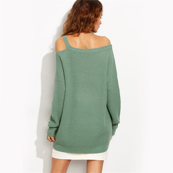 Sexy Green Asymmetric Cold Shoulder Women Knit Pullover - Chic128