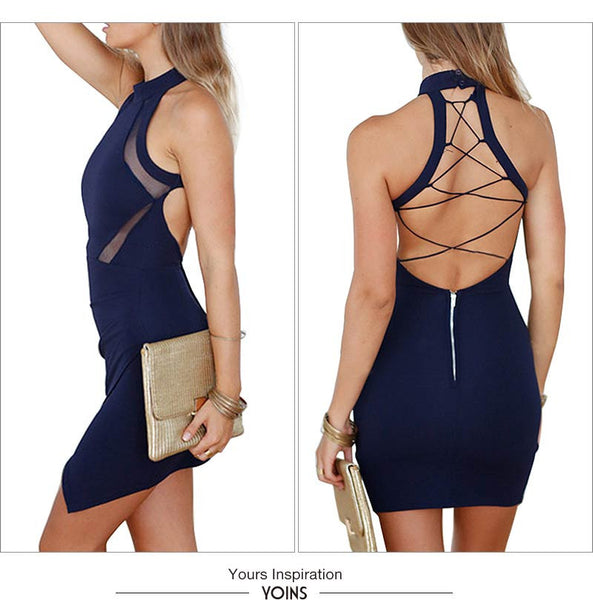 Sexy Back Hollow Out Wrap Front Bodycon Dress - Chic128
