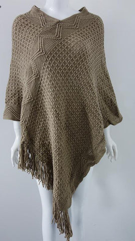 Simple Apparel batwing sleeve fringe tricot cloak sweaters