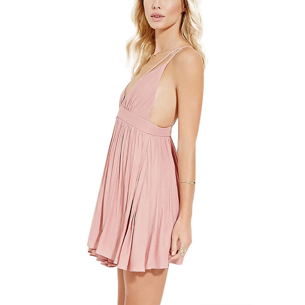 Women Sexy Plunge V-neck Sleeveless Mini Dress - Chic128