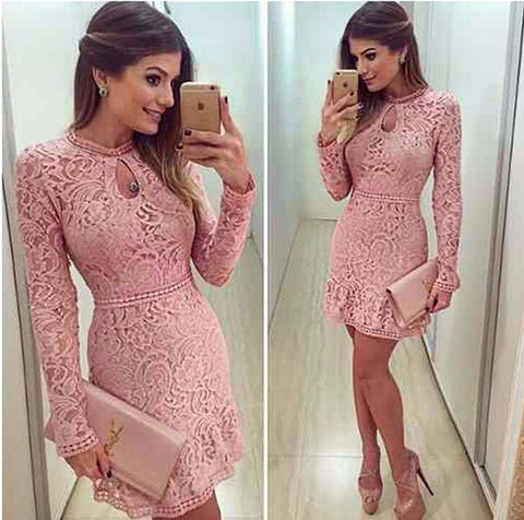Fashion Sexy Long Sleeve Pink Lace Dress