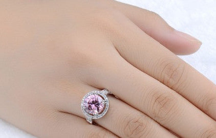 Fashion Silver Plated Pink Crystal Jewelry Engagement Rings - Chic128