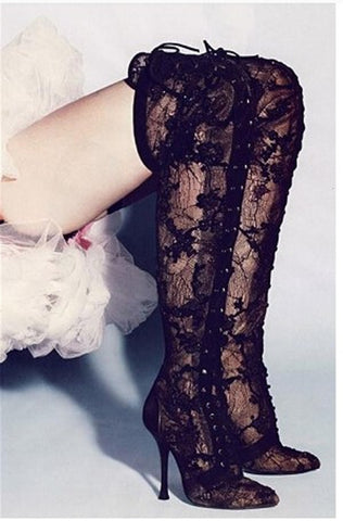 Luxury Thigh High Lace up Black Over the Knee Boots - Chic128