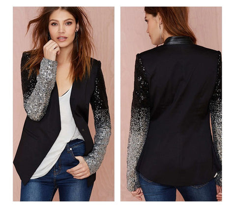 Women Black Silver Sequins Jackets - Chic128