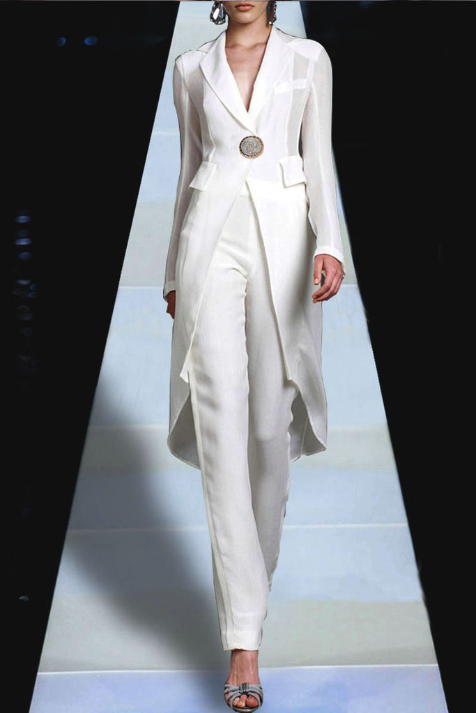 New Temperament Dovetail White Suits - Chic128