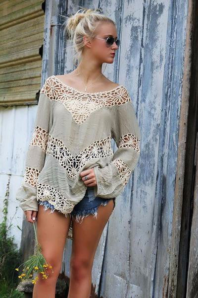 Handmade crochet splice ladies sexy backless blouse - Chic128