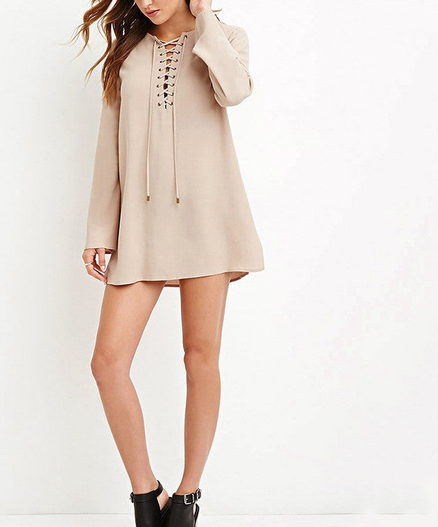 Lace Up Long Sleeve Mini Dress - Chic128
