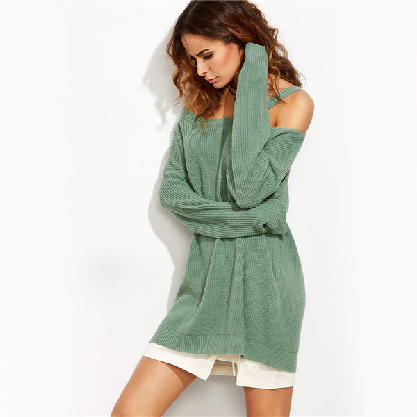Sexy Green Asymmetric Cold Shoulder Women Knit Pullover