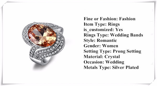Amber Stone 925 Silver Filled Trendy Wedding Rings for Women - Chic128