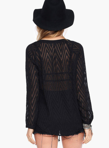 Long Sleeve V-Neck Black Lace Women Blouses - Chic128