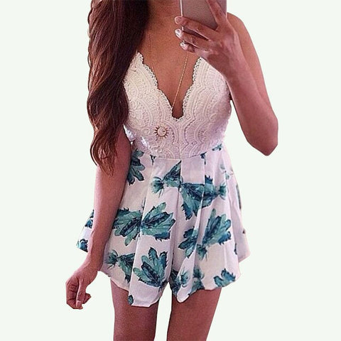 Sexy V-neck Sleeveless Crossed Backless Romper Overalls
