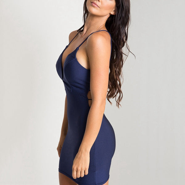 Women Navy Plunging Neck Open Back Cami Dress