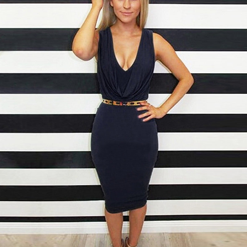 Sexy Plunge V Pleated Sleeveless Bodycon