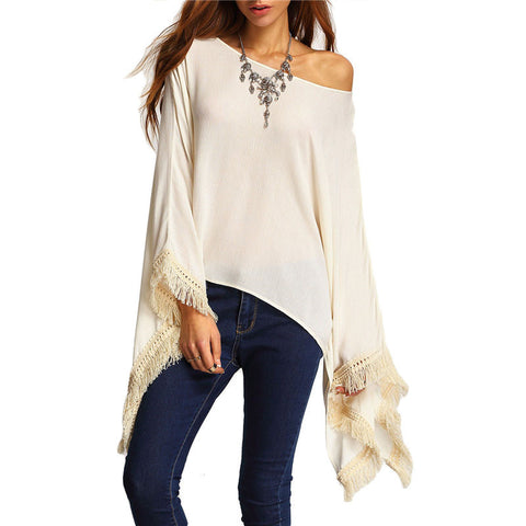 Sexy Apricot Lace Crochet Fringe Loose Blouse - Chic128