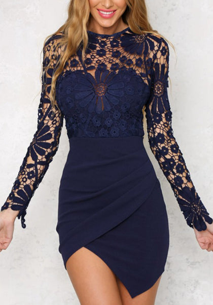 Sexy Crochet Lace Floral Hollow Out Mini Dress