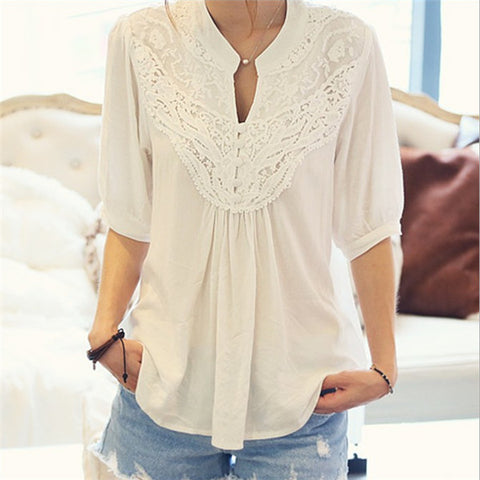 Half Sleeve Lace Lady Blouses - Chic128