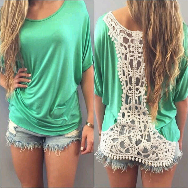 Sexy Backless Lace Crochet Short Sleeve Tops - Chic128