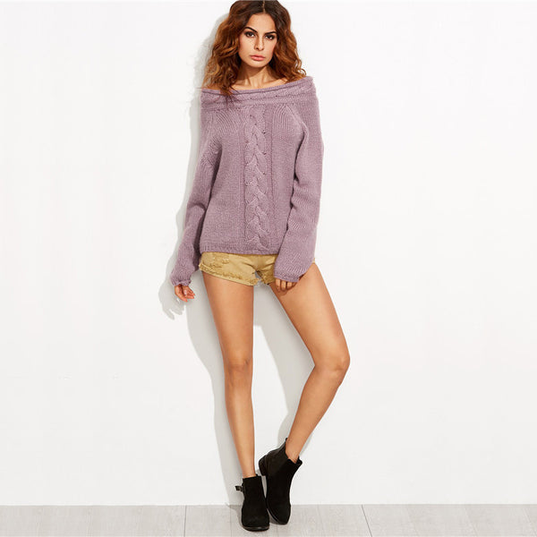 Women Purple Cable Knit Long Sleeve Off The Shoulder Oversized Sweater - Chic128