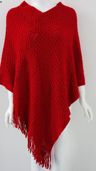 Simple Apparel batwing sleeve fringe tricot cloak sweaters - Chic128