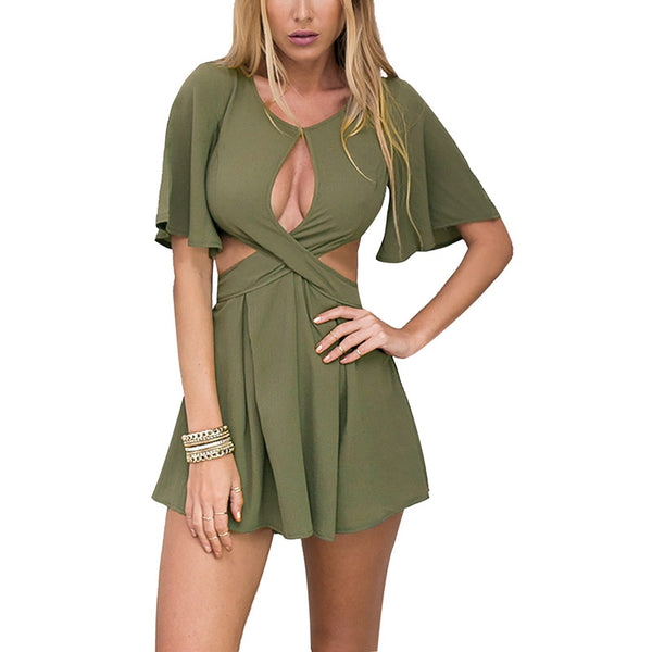 Sexy Mulheres Cut Out Oco Cruzou Frente Jumpsuit