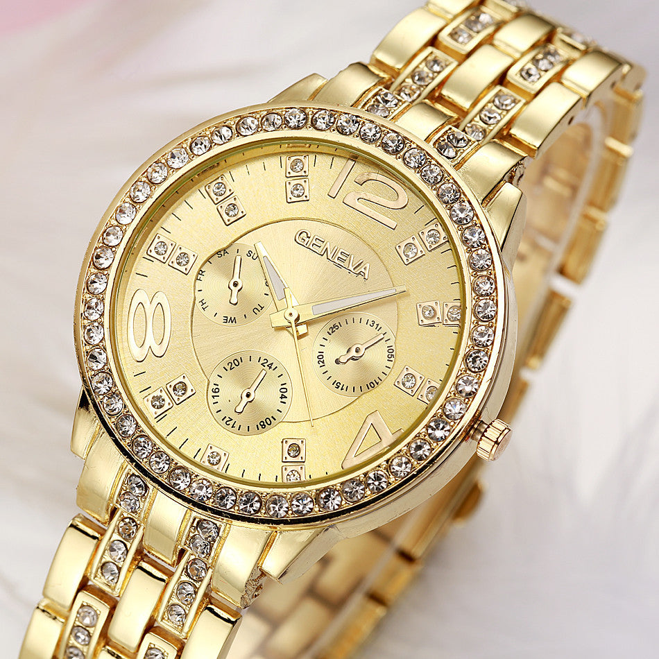 Bling Stainless Steel Simulation Crystal Wristwatches - Chic128
