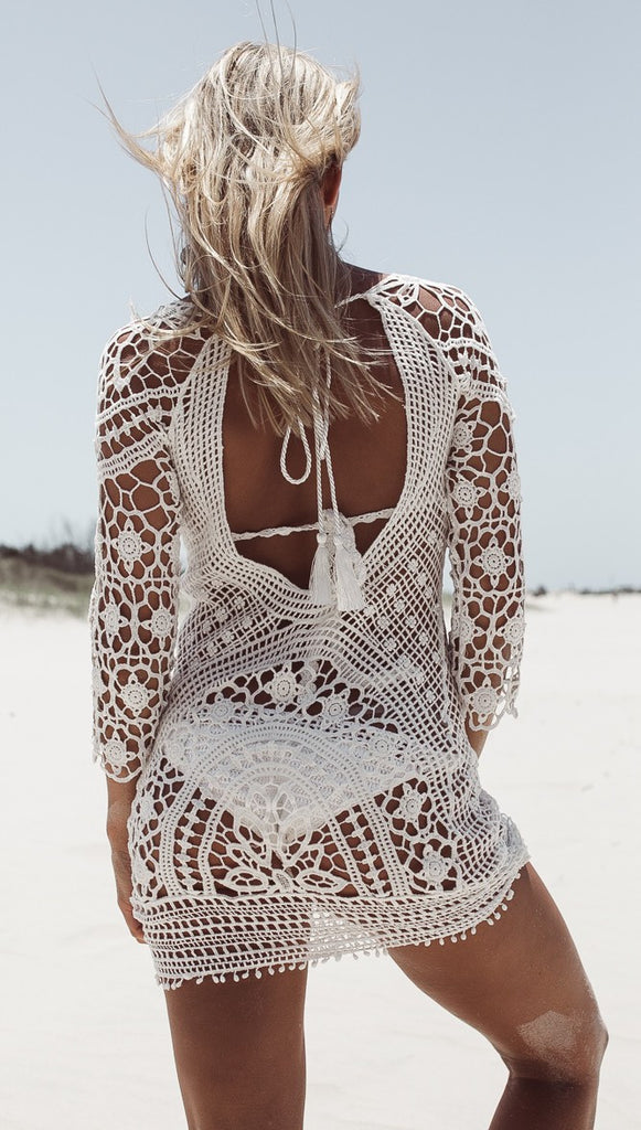 White O-Neck Long Sleeve Lace Women Beachwear Dress - Chic128