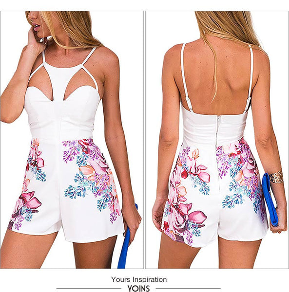 Floral Print Sexy Cut Out Spaghetti Strap Backless Jumpsuit - Chic128