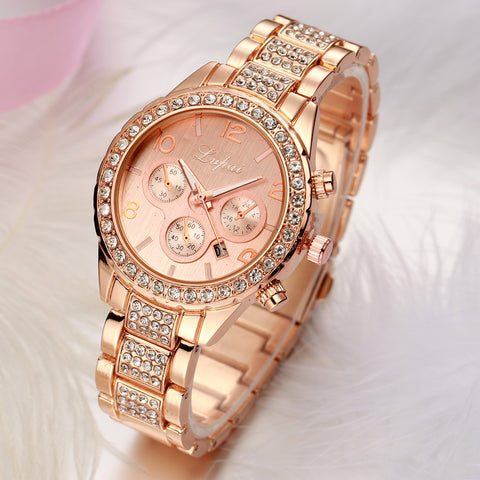 Women Gold Silver Rhinestone Crystal Luxury Wristwatch