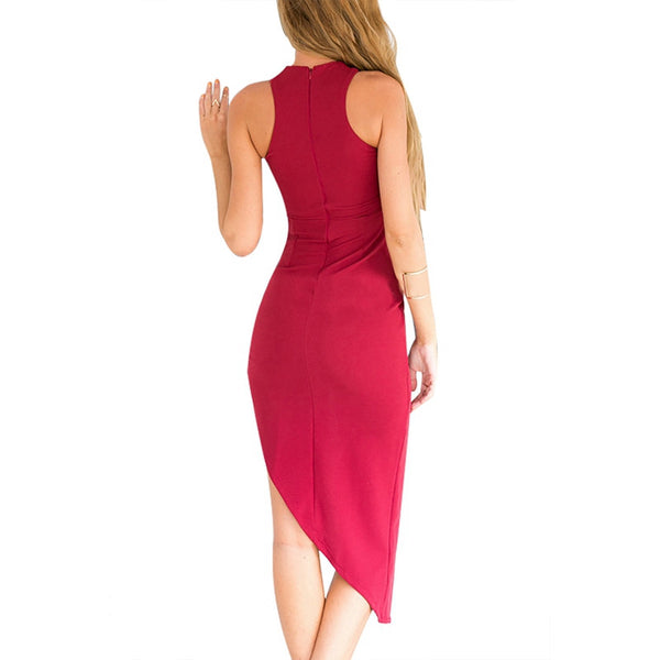 Sexy Sleeveless Wrap Front Bodycon Dress