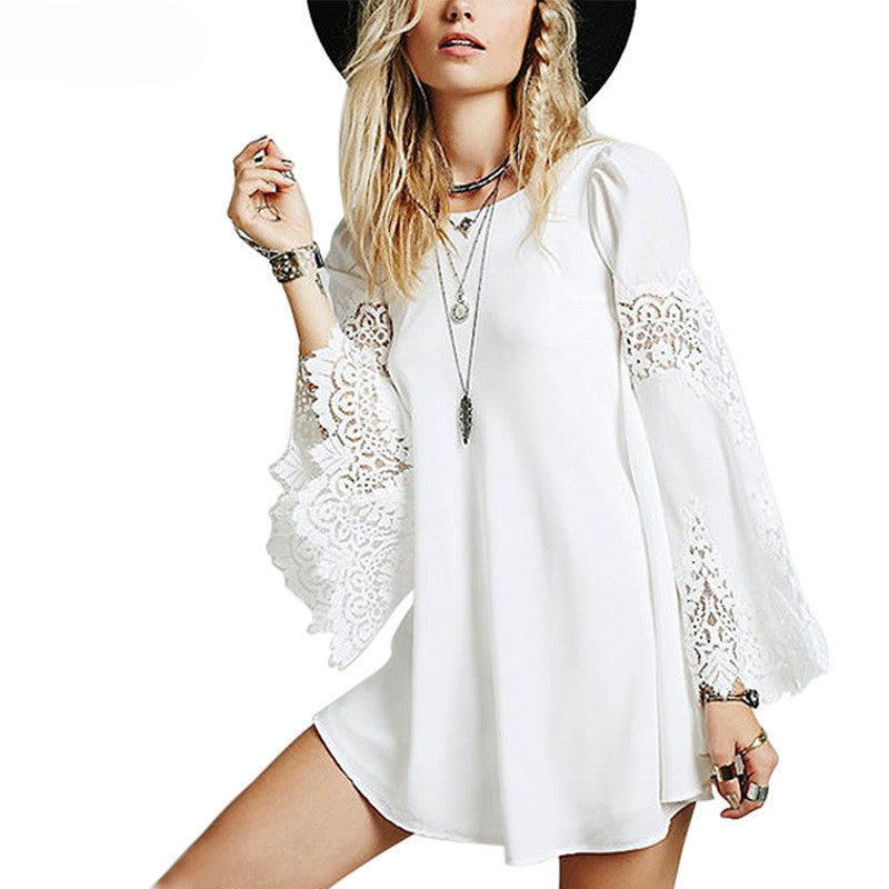 Sexy Chiffon Lace Splice Longsleeve A-line Mini Dress - Chic128