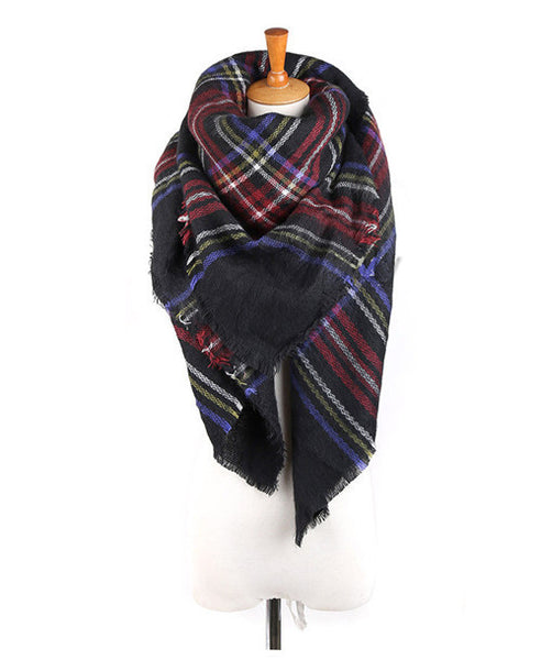 Unisex Women Men Warm Blanket Large Oversized Tartan Scarf - Chic128