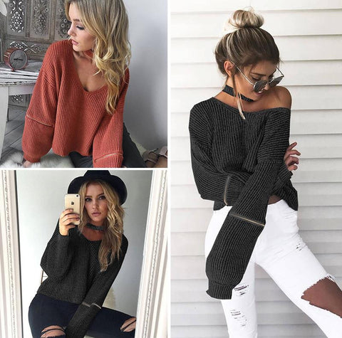 Elegant Casual V Neck Knitted Women Sweaters - Chic128