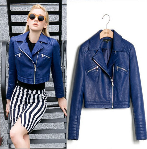 Fashion High Quality New Short Leather Jacket - Chic128