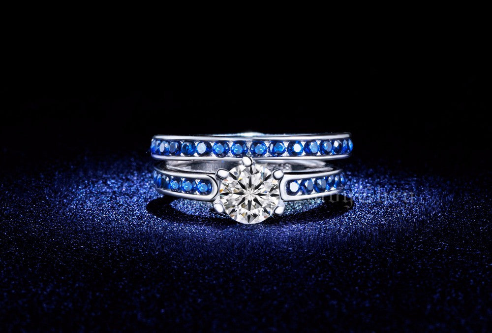 Silver Plated Sapphire Crystal Jewelry Engagement Bridal Sets Rings