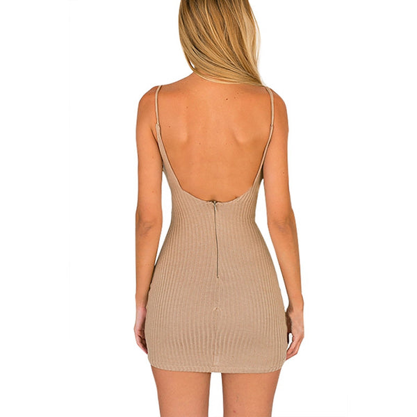 Sexy Plunge V-neck Sleeveless Bodycon Party Dress - Chic128