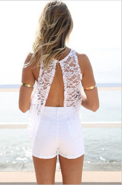 Embroidery Lace Crochet Women Lace Blouses - Chic128