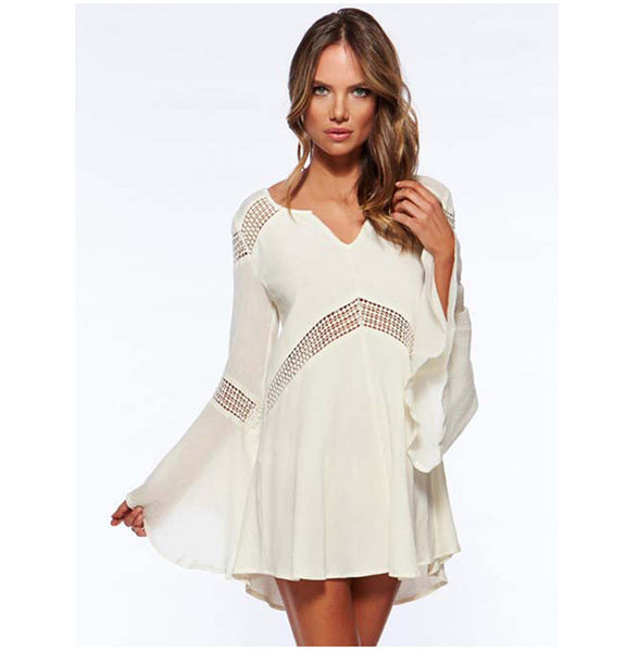 Hot Sale Limited Solid Praia Swimwear Hollow-out Beach dress - Chic128
