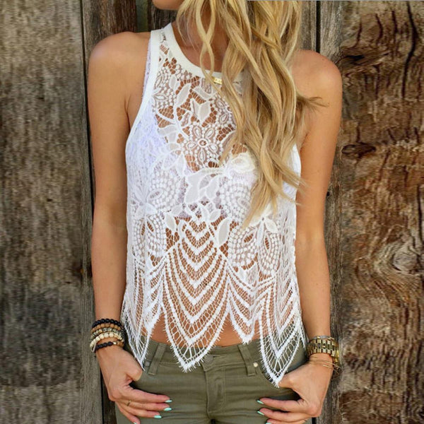 Hot Sexy Women Ladies Sleeveless Lace Crochet Blouses - Chic128