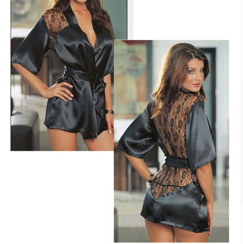 Lace Black Kimono Intimate Sleepwear Robe Night Gown - Chic128