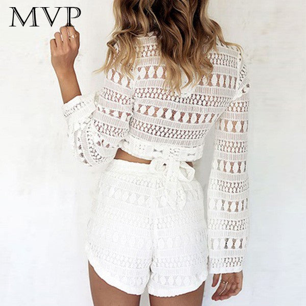 Lace Short Long Sleeve Jumpsuit - Chic128