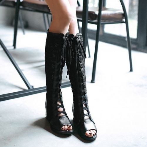 Lace Up Cross Bandage Over Knee Boots - Chic128