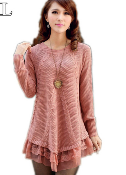 Lace Women Sweater Dress - Chic128