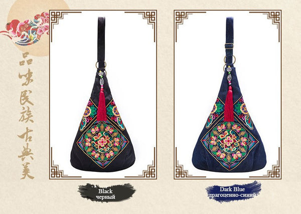Ladies large flower embroidery bags - Chic128