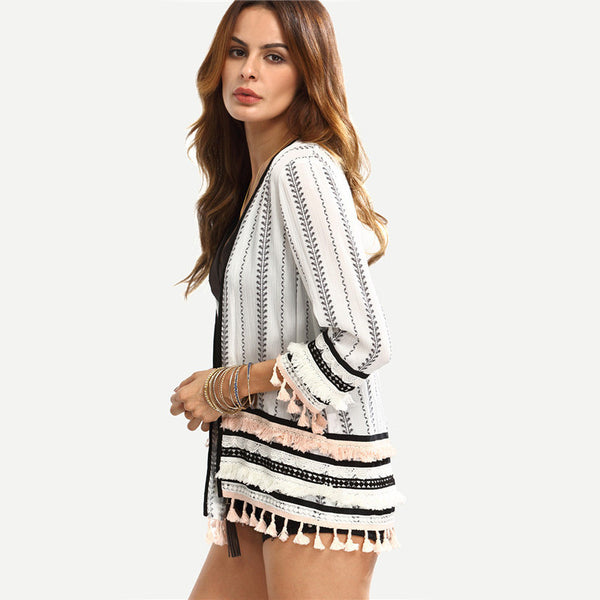 Long Sleeve Black and White Print Open-Front Tassel Casual Kimono - Chic128