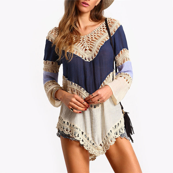 Multi Color Hollow Out Crochet Long Sleeve V Neck Cheap Hot Sale Blouse - Chic128