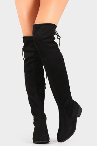 Drawstring Tie Riding Suede Over-The-Knee Boots - Chic128