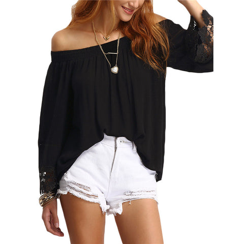 Off-The-Shoulder Lace Trimmed Blouse - Chic128