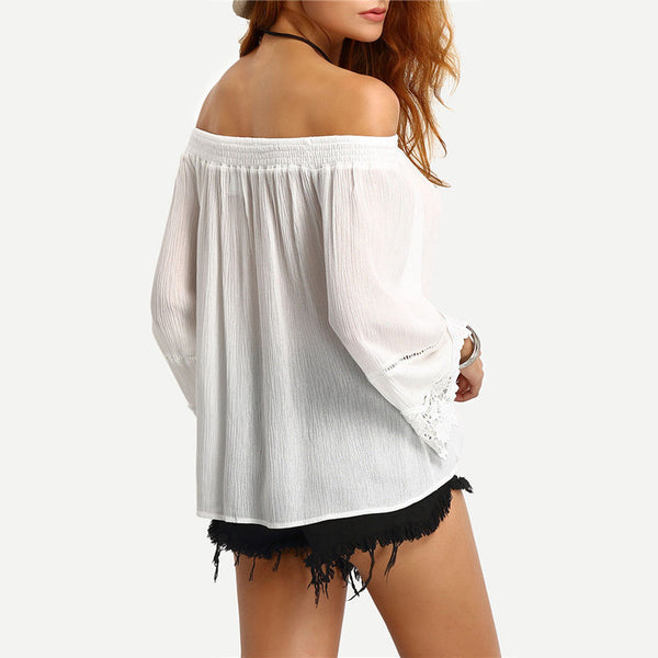 Off-The-Shoulder Lace Trimmed Blouse