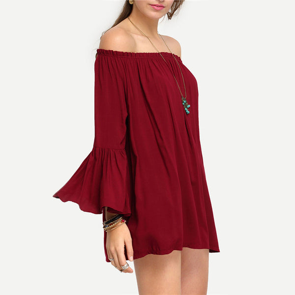 Off-The-Shoulder Long Flare Sleeve Blouses